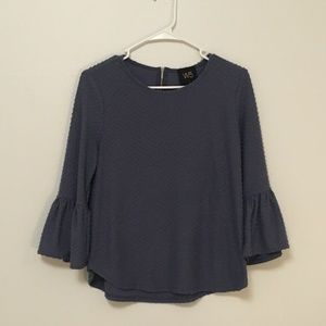 Blue Flutter Sleeve Blouse